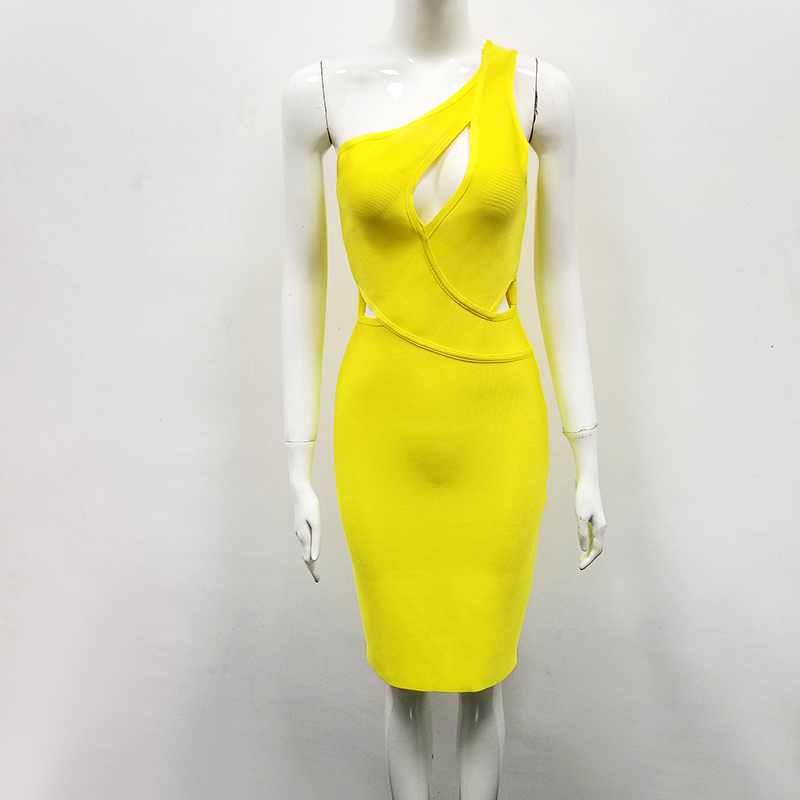 High Quality Sexy One Shoulder Yellow Key Hole Rayon Bandage Dress 2020 Celebrity Designer Fashion Party Dress Vestido 2