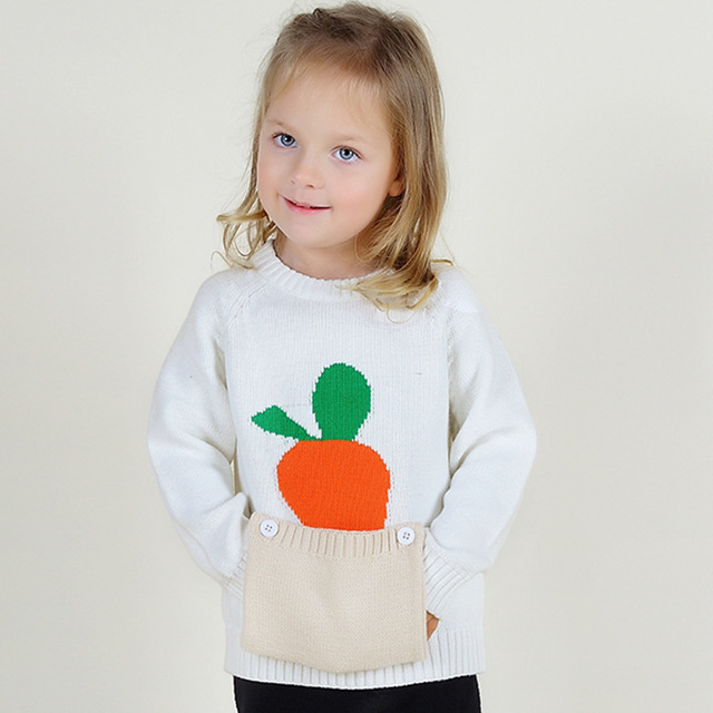 El último ins zanahoria linda primavera invierno de punto de algodón cómodo y casual bolsillo grande suéter suéter de la Muchacha