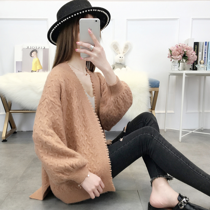 autumn women's coat coat is loose, short, autumn and winter sweater outside, students knitted cardigan lazy and lazy.