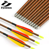 Hunting Crossbow Archery 6/12pcs Wood Skin Pure Carbon Arrows ID4.2mm SP600 800 3 Turkey Feather Pin Nocks Recurve Bow