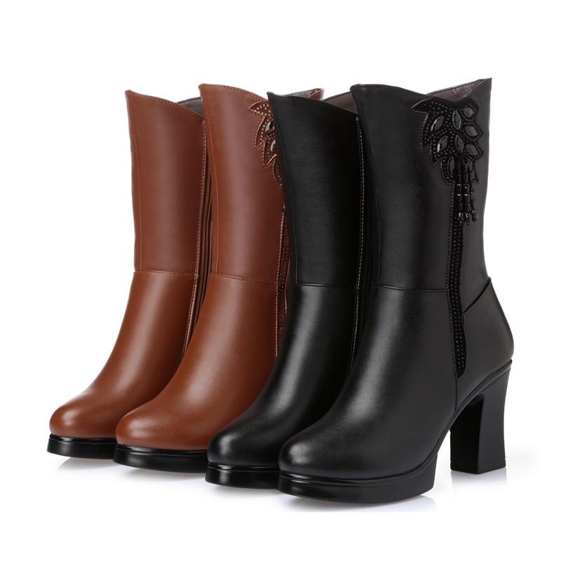 Femme Laine Neige black Wool Chaud De En Mode Véritable Strass brown Talons Luxe Plush Date Inside Cuir 2019 Peluche Plush Et Wool Hauts black Chaussures Bottes Brown ZnwP7fq4x