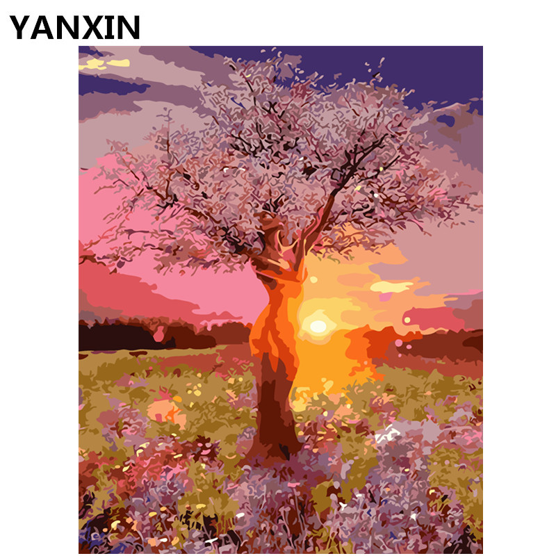 YANXIN DIY Frame Painting By Numbers Oil Paint Wall Art Pictures Decor For Home Decoration E880