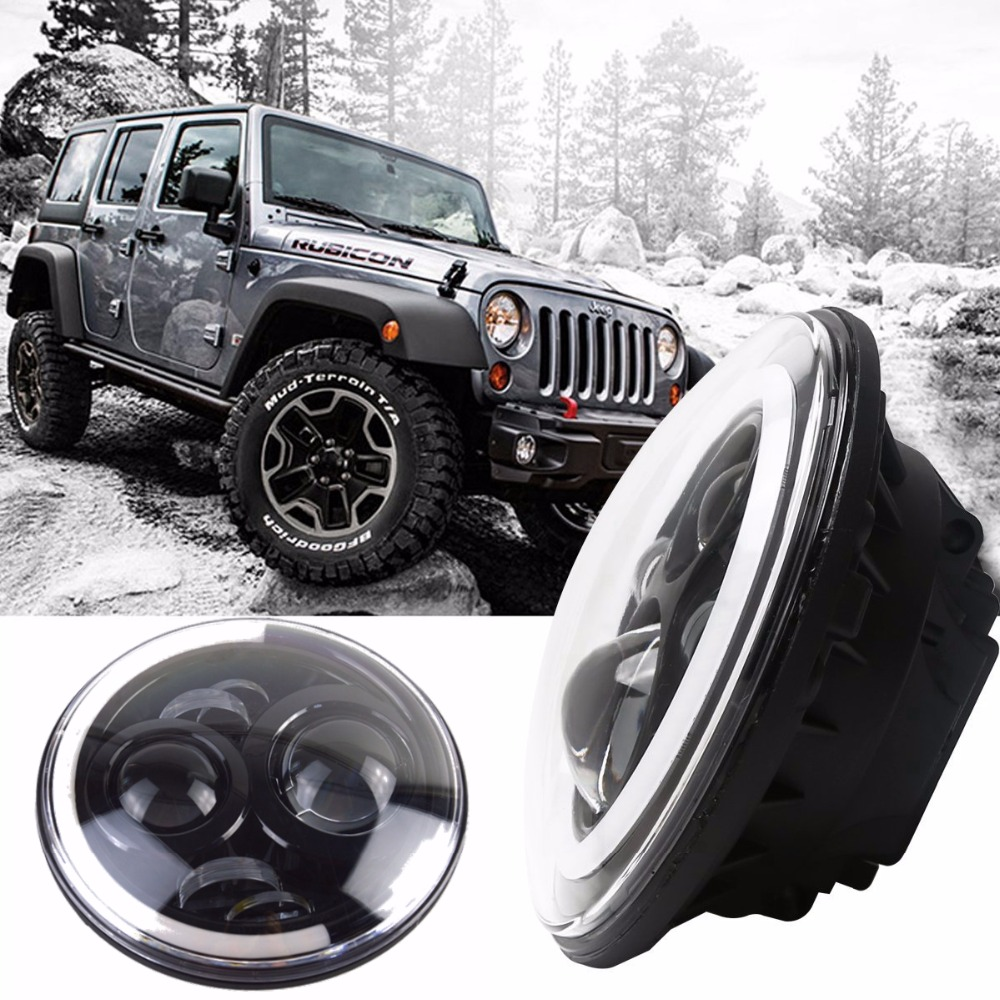 7Inch Round Led Headlight DRL&Hi/Lo Beam for Jeep Wrangler JK TJ LJ CJ Unlimited Rubicon Sahara Hummer 1&2 Land Rover Defender cree 7 40w led headlight high low beam round led driving lamp head lights for jeep wrangler jk tj lj cj for hummer h1 h2