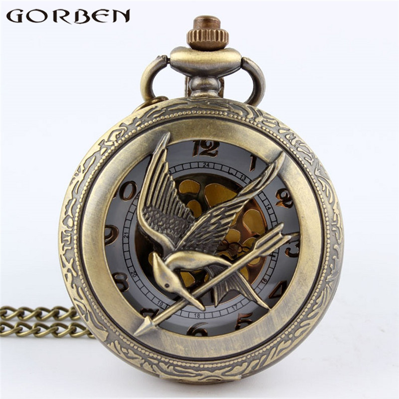 2017 New Arrival The Hunger Games Retro Bronze Hollow Quartz Pocket Watch Skeleton Bird Clock Pendant Gifts For Men Women Clock