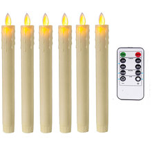 Pack of 2 Moving Wick Flameless LED Taper Candles With Remote and Timer,Yellow Battery Operated Candles
