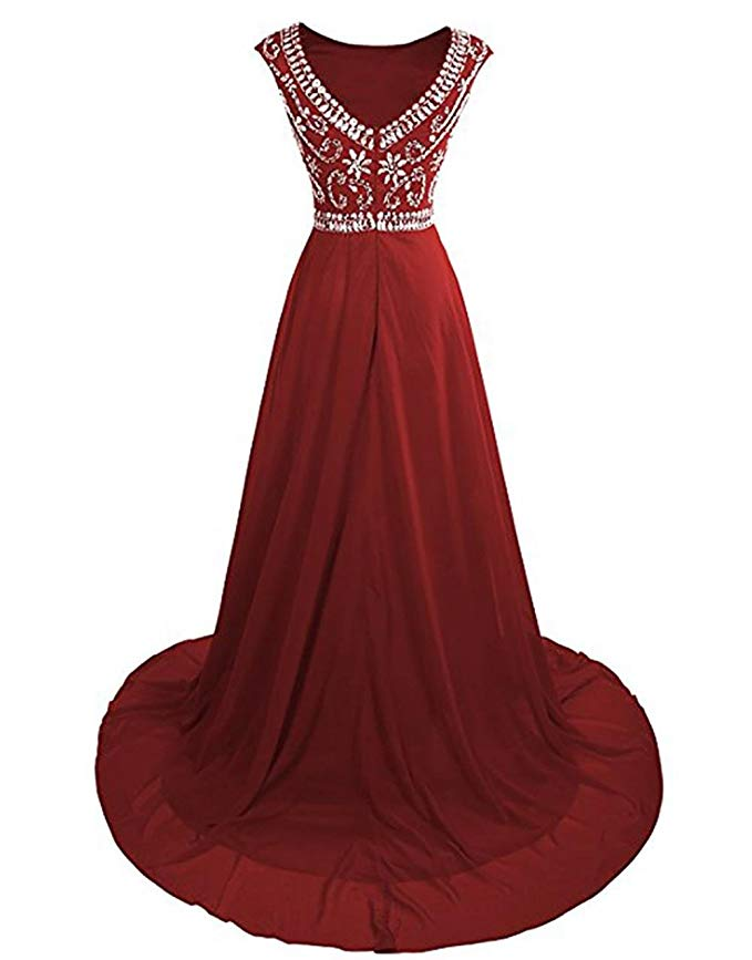 Scoop V-Back Zipper Rhinestones Long Chiffon Homecoming Prom Dress Long Vestidos De Gala