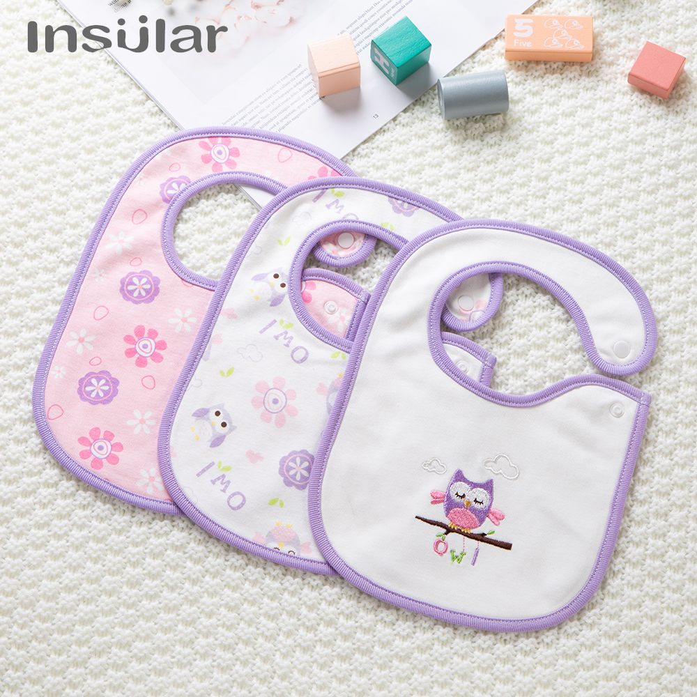 Insular 3 Pcs/set Fashion Newborn Baby Bibs Waterproof Kids Girls And Boys Cotton Triangle Children Feeding Accessories