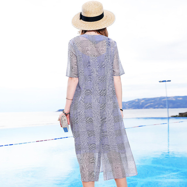 M 2019 Taille Été Deux pièce Pour Sur Plaid Le Blue Grande Printemps Genoux Élégante 3xl Robe V Mode Sexy De Nouvelles cou Femmes xw8IqYtng