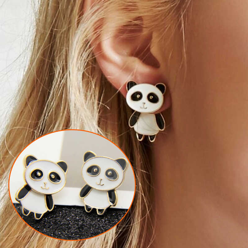 Hot Trendy Chinese Little Panda Studs Earrings Golden Cute Animal panda Earrings Jewelry For Women Gift Drop Shipping