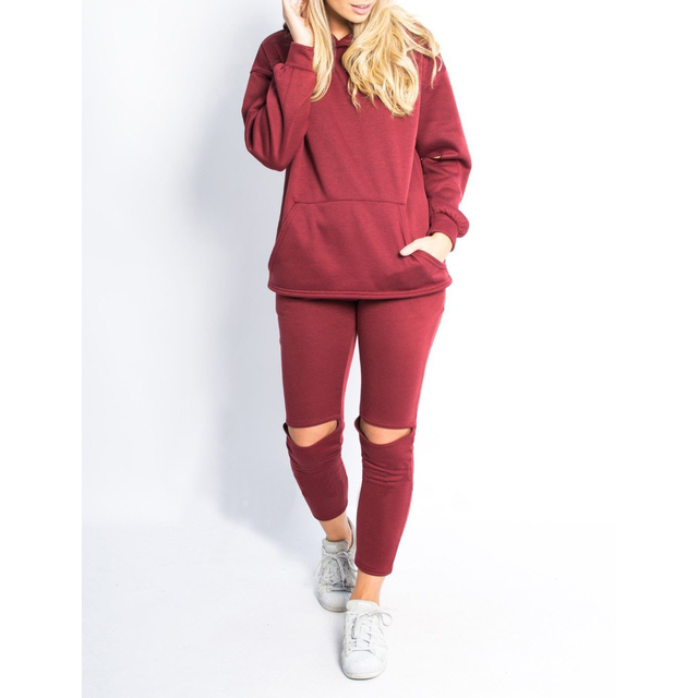 Street Style Holes Pants Tops Sets Pocket Pullovers Two Piece Set Winter Autumn Sweatshirt Long Sleeve Female Tracksuits GV109