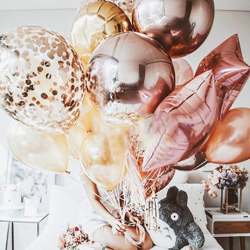 Rozes zelta ballītes rotājumi pieaugušo rozā baloni burti skaits - Svētku piederumi