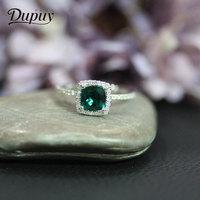 DUPUY Fashion Ring 6mm 0.8ct Cushion Cutting Emerald Classic 14K Rose Gold Ring Round Gemstone Wedding Engagement Ring D180336