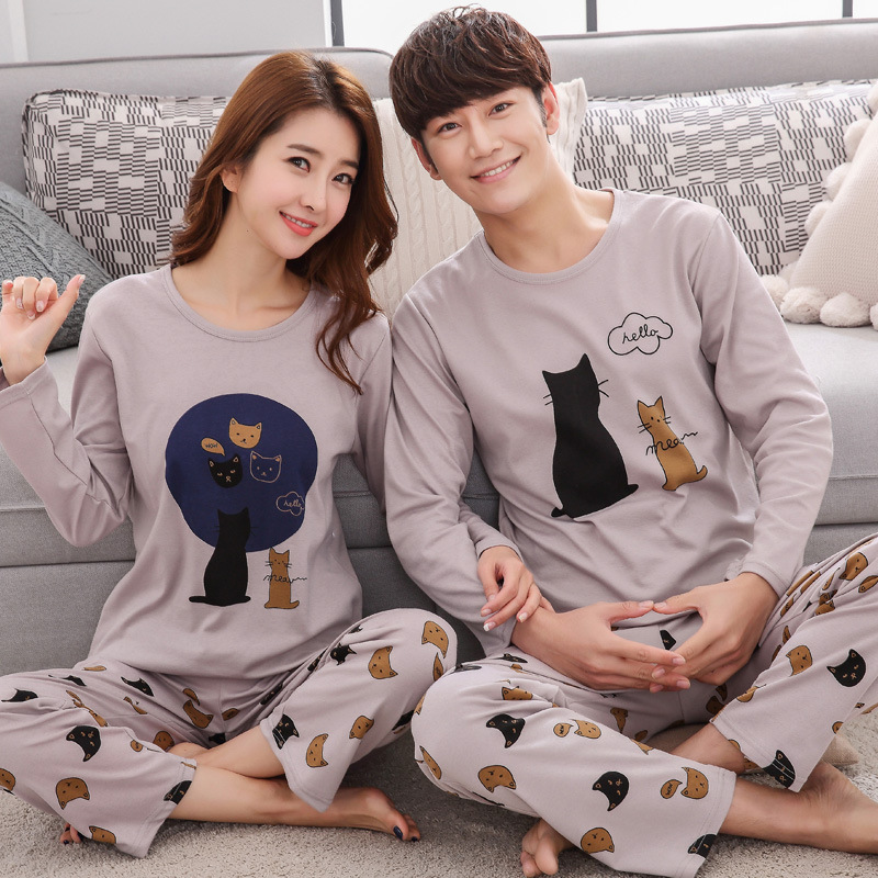 Lovers Pajamas Suit Spring Autumn Mens Pajamas Outside Wear Thin Household Clothes Cotton Long Sleeves Nightgown Bedgown Nighty