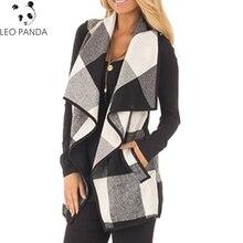 Осенний офисный женский жилет без рукавов с отложным воротником, куртка с открытой передней частью, клетчатый кардиган в клетку, Повседневный Женский Длинный жилет HD05
