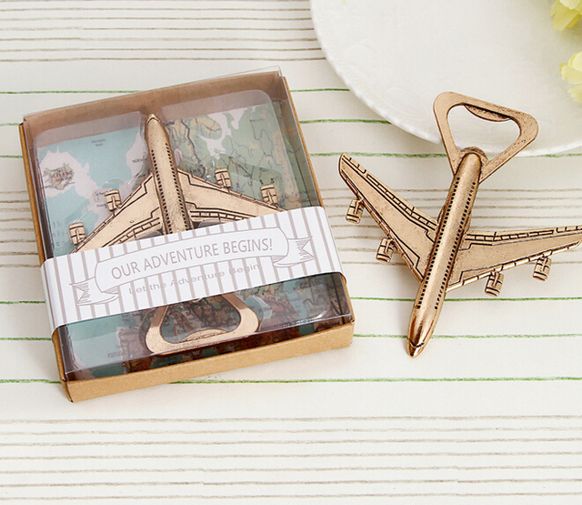 FREE SHIPPING(12pcs/Lot)+Destination Wedding Favors Gold Airplane ...