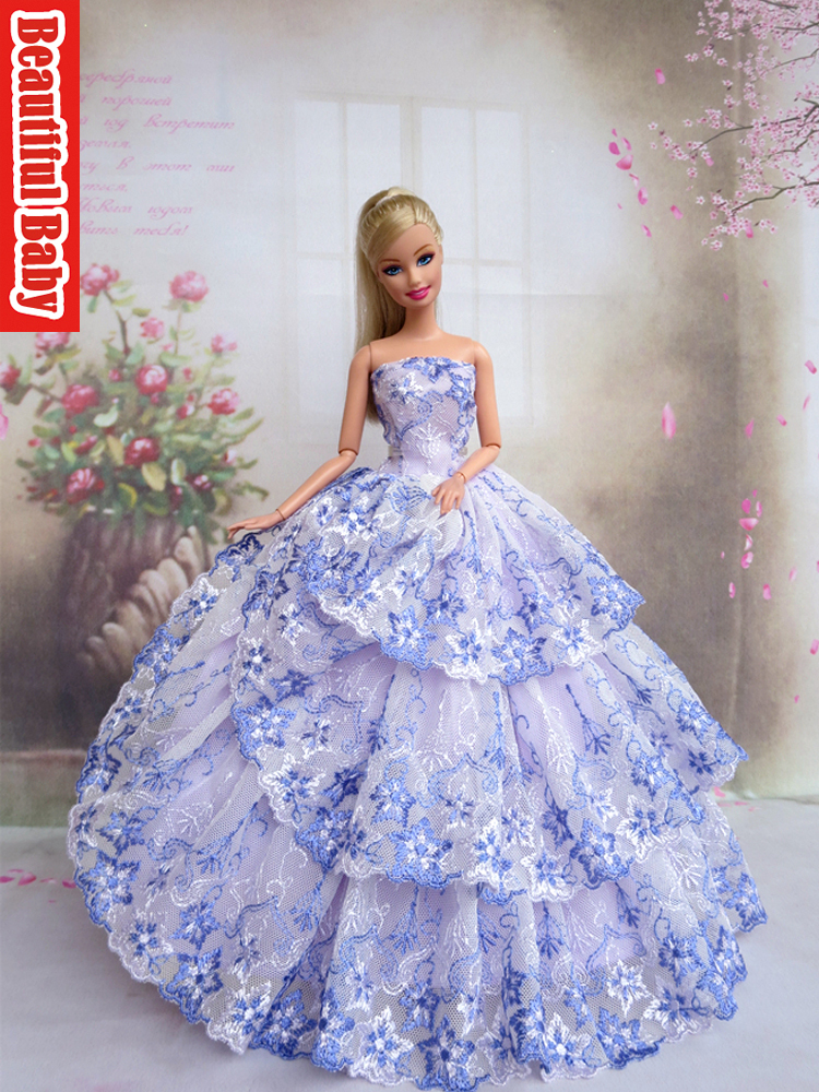 Fairy Sanara like a singing bird - Page 2 Handmade-delicate-embroidery-Retro-princess-dress-wrap-chest-in-blue-wedding-for-barbie-FR2-doll-free