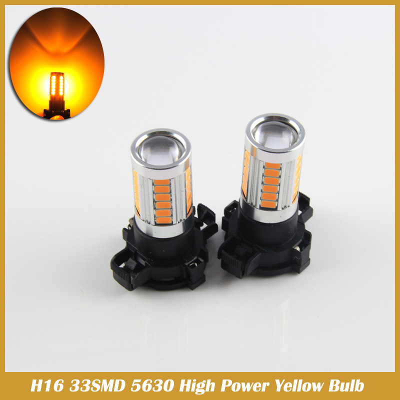2PCS Error Free Amber Yellow 33SMD 5630 high power H16 5202 LED Bulbs For Turn Signal car Lights 2pcs brand new high quality superb error free 5050 smd 360 degrees led backup reverse light bulbs t15 for jeep grand cherokee