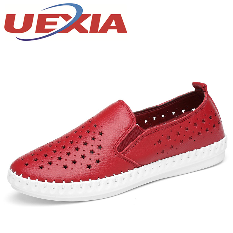 Women Casual Breathable Shoes Summer Fashion Slip On Flats Shoes For Woman Soft leather Walking Sneakers Female Zapatos Mujers new women shoes breathable fashion ladies flats non slip summer wedges shoes for women aa10218