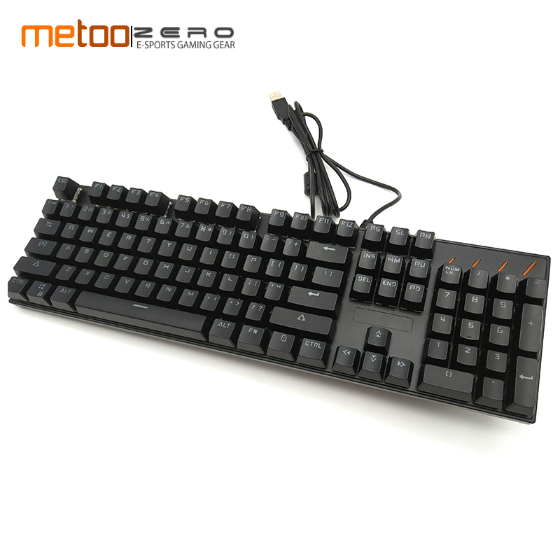 Metoo USB Real Mechanical Keyboard gaming Wired 104 keys Blue Switch Gaming LED Backlit Single Color for Desktop Computer huo ji 104 keys usb gaming keyboard with led backlit gaming keyboard for pc desktop