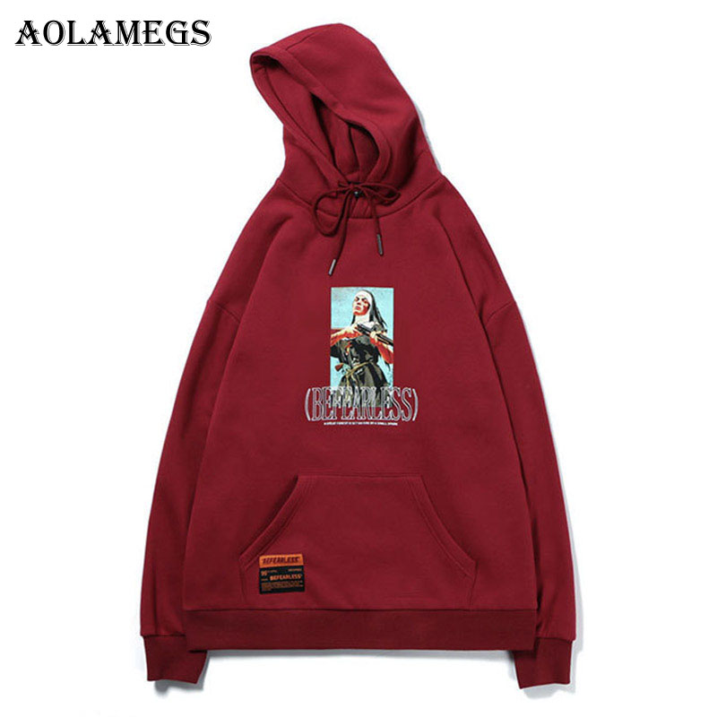 Aolamegs Hoodies Men Picture Printed Hooded Thick Pullover Sweatshirt Men High Street Fashion Hip Hop Streetwear Hoodie Autumn
