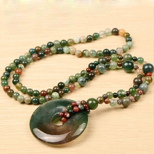 купить Drop Shipping Natural Water Grass Agate Necklace For Engagement Anniversary Wedding Gift Jade Jewelry Sweater Chain For Women онлайн