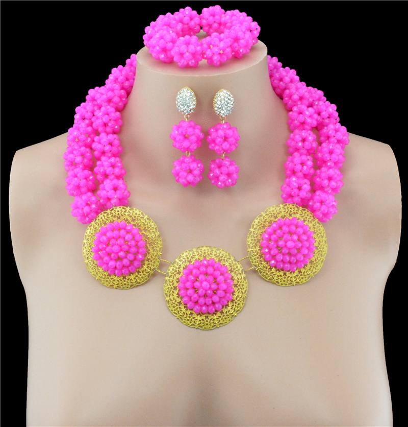 Nigerian Wedding African Beads Jewelry Sets Collar Necklace Earrings Set For Women Crystal Fashion Party Accessories