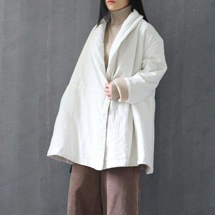 Women Retro Cotton Linen Padded Jacket Loose Coat Ladies Vintage