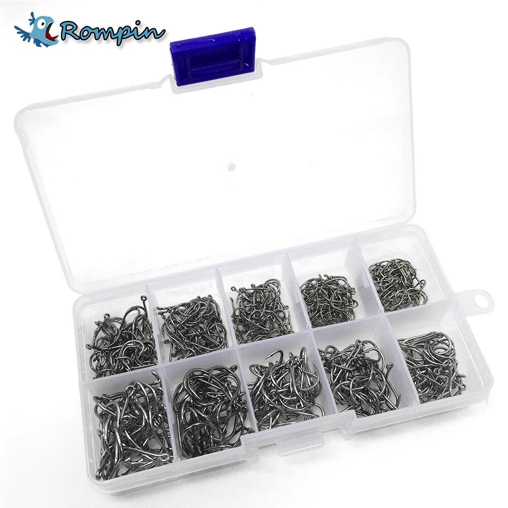 Rompin 500 pcs/ensemble mixte taille #3 ~ 12 haute en acier au carbone pêche à la carpe crochets pack avec trou avec Détail boîte d'origine Jigging Appât