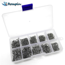 Rompin 500pcs/set mixed size #3~12 high carbon steel carp  fishing hooks pack with hole with Retail Original box Jigging Bait