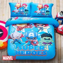 The Avenger Super Heroes 3D Printed Bedding Set Bedspread Coverlets Duvet Cover Full Queen Size Cotton Woven Blue Color Children