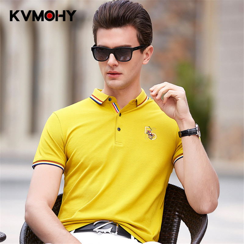 Mens   Polo   Shirts New Summer Short Sleeve   Polos   Shirt Men Cotton Breathable Top Quality Yellow   Polo   Male Masculina Clothes