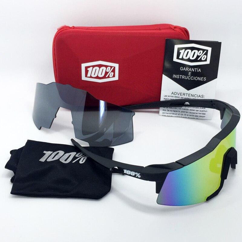Prix pour 100% SpeedCraft Sports de Plein Air lunettes Vélo Lunettes De Soleil bicicleta Gafas ciclismo UV400 objectif Vélo Lunettes Lunettes 2 Lentilles