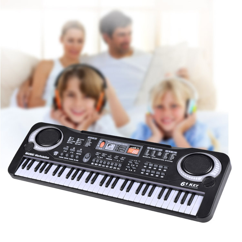 Black 61 Keys Music Electronic Keyboard Key Board Kids Gift Electric Piano Gift With Mini Microphone For Child Kid Musical Organ|musical electronic keyboard|electronic keyboard|61 key - title=