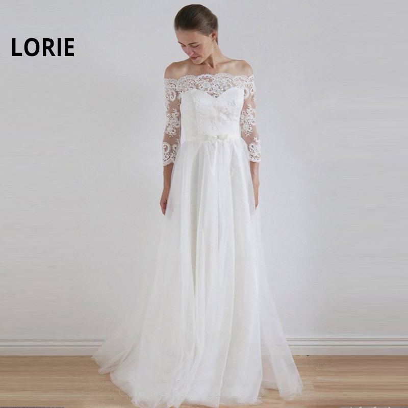 LORIE Elegant Lace Appliques A-Line Wedding Dresses 2019 Long Sleeve Bride Dress Cheap Tulle Wedding Gown New Vestido De Noiva