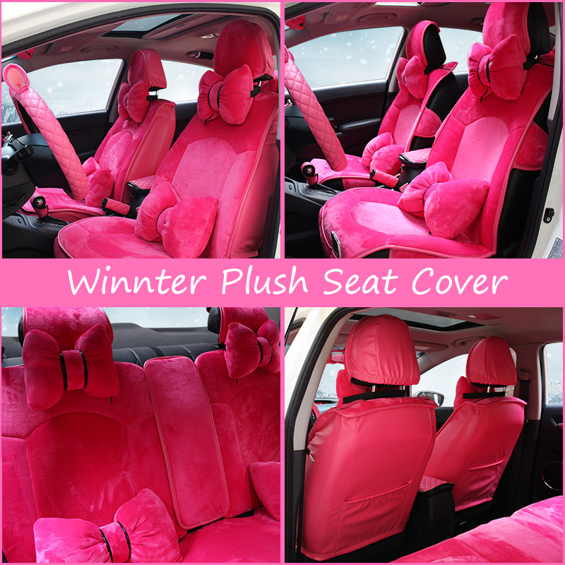 Purple Pink Plush Winter Seat Cover Women Universal Car Seat Covers for Girls Winter Warn Seat Pad Car Pad Seat Cover
