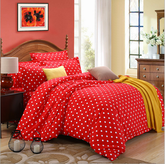 2 colors small dots beding sets modern soft fabtic bedding sheet 4pcs/set 100%cotton Queen size comfortable printing beding sets