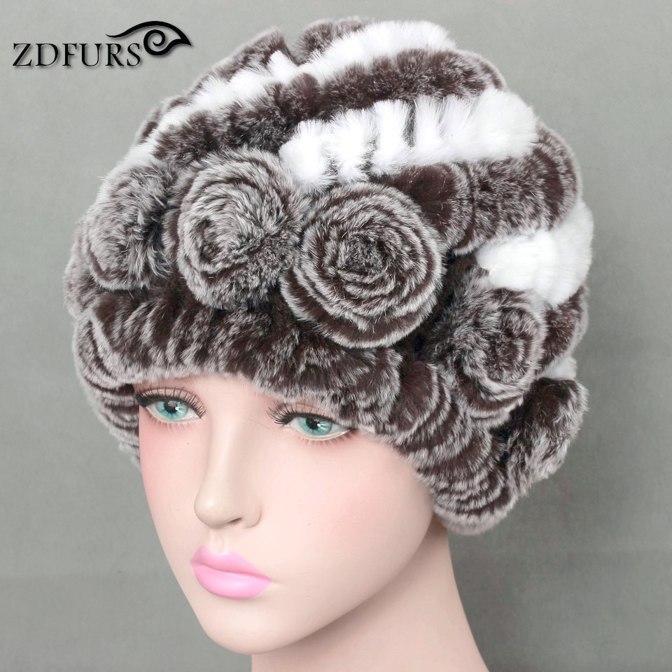 Glaforny 2017 Real Rex Rabbit Fur Hats Women's Winter Warm Fur Beanies With Fur Flowers Braid Hat Female 10 Colors
