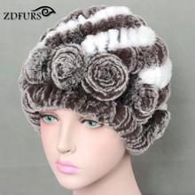 ZDFURS 2017 Real Rex Rabbit Fur Hats Women's Winter Warm Fur Beanies With Fur Flowers Braid Hat Female 10 Colors