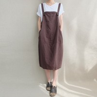 2018 Celmia Summer Women Sleeveless Solid Cotton Linen Suspenders Dress Back V Pockets Baggy Party Dungarees