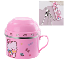 Portable Cartoon Japanese Stainless Steel Lunch Box Snack Cup Fast food Food Storage Container With Dinnerware Set