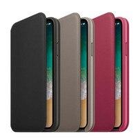 Officiel D'origine Auto Sommeil/Réveil Portefeuille Flip Étui En Cuir pour IPhone X 10 Smart RETOUR SIGNE Fente Pour Carte de Couverture avec LOGO Boîte de Détail