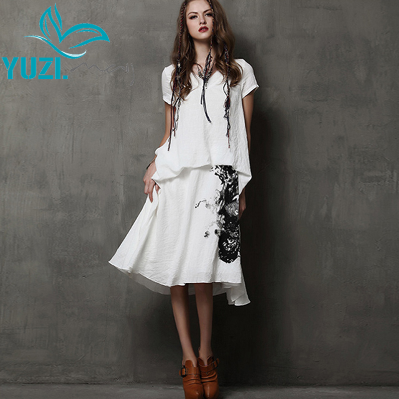 Summer Style Dress 2017 Yuzi Vintage New Cotton Linen Dresses Short Sleeve V Neck Ink Painting