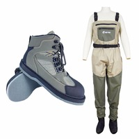 Fly Fishing Shoes & Pants Aqua Sneakers Clothing Set Breathable Rock Sports Wading Waders Felt Sole Boots Quick drying No slip