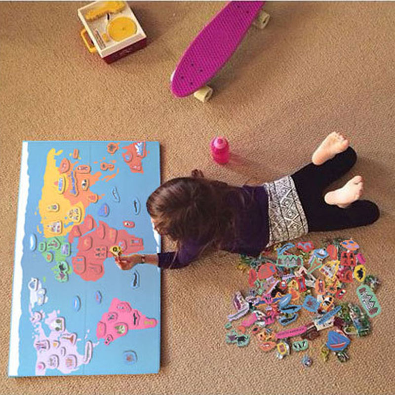 131 Pieces Wooden Magnetic Fun Hello World Map Puzzle Educational Toy For Children 3d Puzzles Montessori