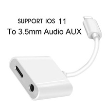 2 in 1 Lighting Adapter Splitter to 3.5 mm Headphone Earphone Jack Car Aux Audio and Charge For iPhone 7 8 Plus SUPPORT iOS 11