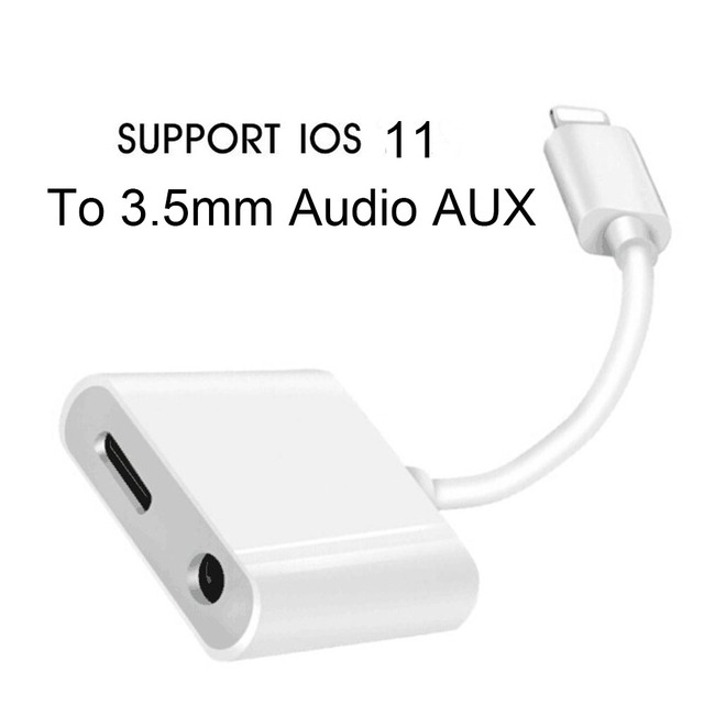 2in1 Lighting Adapter Splitter To 3 5 Mm Headphone Earphone Jack Car Aux Audio And Charge For