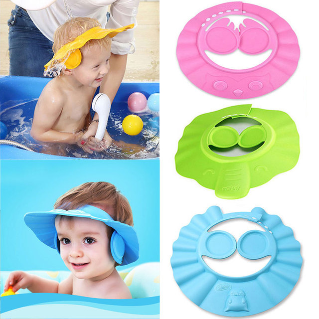 af2b04593 US $3.25  1PC Safe Baby Shower Cap Kids Bath Visor Hat Adjustable Baby  Shower Cap Protect Eyes Hair Wash Shield for Newborn Waterproof Cap-in  Shampoo ...