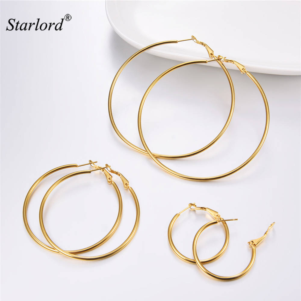 Women Fashion Hoop Gold Large Jewellery 30//50//70mm Extra Earring Stainless Steel