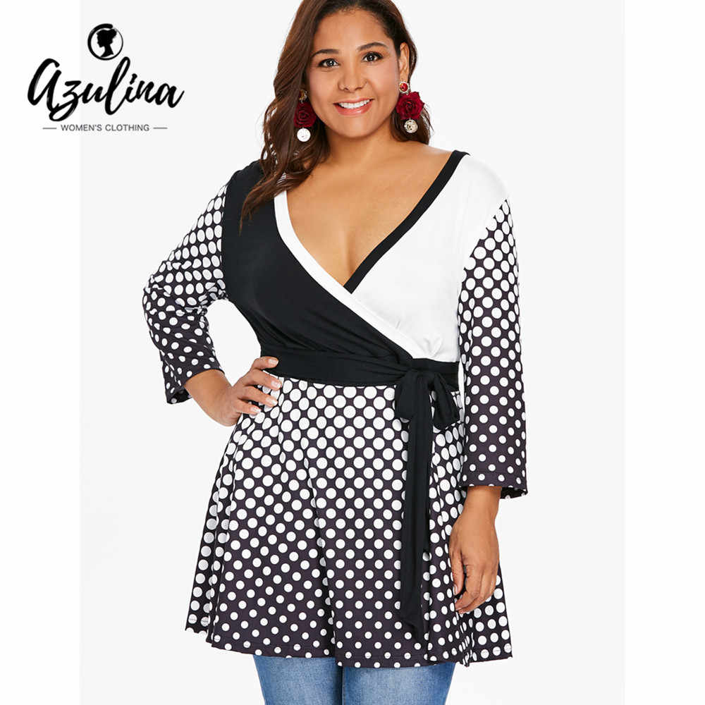 577352458b4 Detail Feedback Questions about AZULINA Plus Size Polka Dot Peplum T Shirt  Casual V Neck Long Sleeve High Waist T Shirt Ladies Tops Big Size 5XL Women  ...
