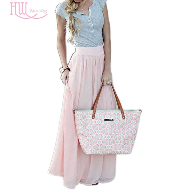 Light Pink Maxi Skirts Pleated Chiffon Floor Length Womens Party